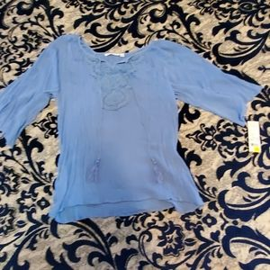 Notations, blue, hippie style blouse 3/4 sleeves